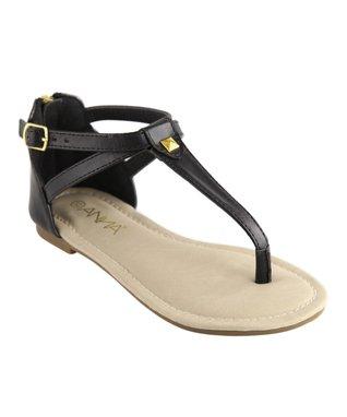 Black Rhinestone T-Strap Sandal