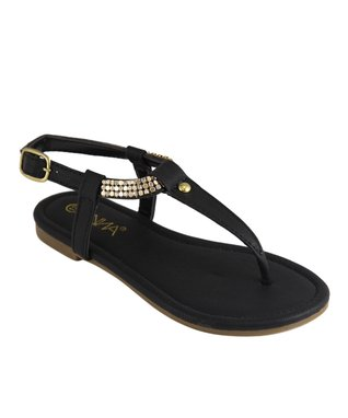 Black Pyramid Stud T-Strap Sandal