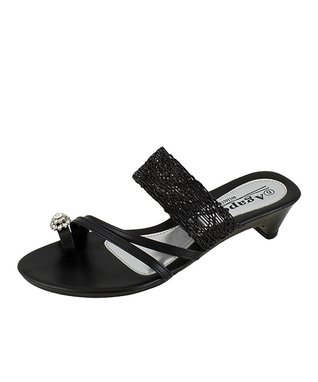 Agape Black Ideal Rhinestone Sandal