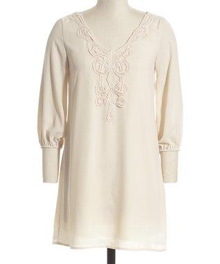 Beige Ruched Asymmetrical Dress