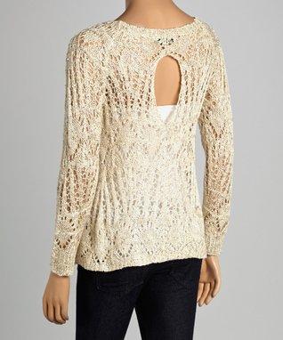 Design 26 Beige Sparkle Loose-Knit Keyhole Sweater