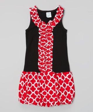 Red Quatrefoil Ruffle Bubble Dress - Toddler & Girls