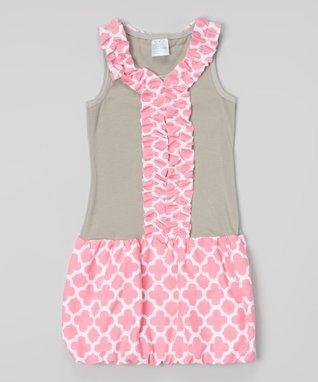 Pink Quatrefoil Ruffle Bubble Dress - Toddler & Girls
