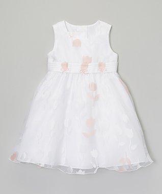 White & Pink Rosette Dress - Toddler & Girls