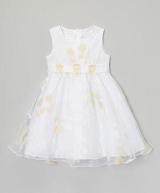 White & Yellow Tulip Dress - Infant & Toddler