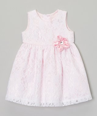 White & Pink Flower Lace Dress - Infant & Toddler