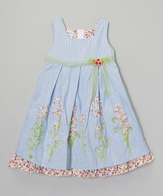 Blue & Green Stripe Flower Dress - Girls