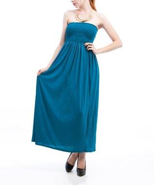 White & Blue Ombré Strapless Maxi Dress