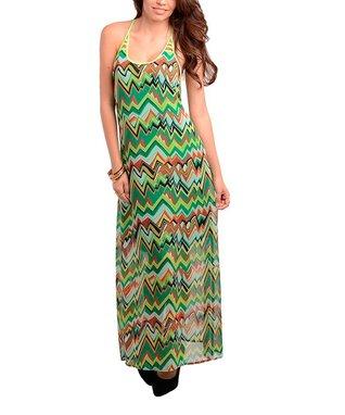 Green Zigzag Cutout Maxi Dress