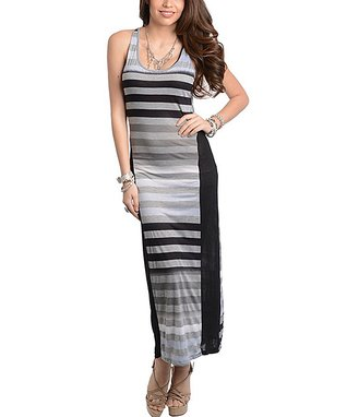 Gray & Black Stripe Maxi Dress