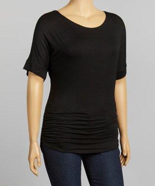 Black Cape-Sleeve Tunic - Plus