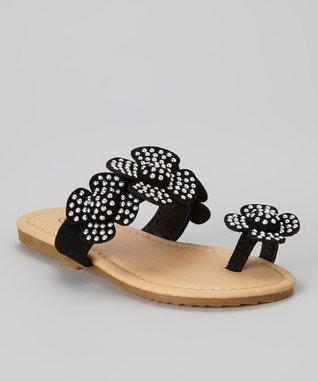 Black Toe-Strap Sandal