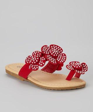 Red Toe-Strap Sandal