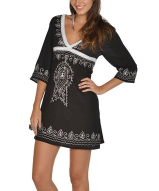 Black & White Embroidered V-Neck Cover-Up