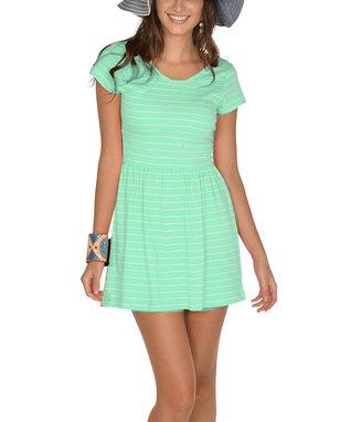 Mint Stripe Scoop Back Cap-Sleeve Dress