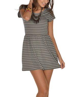 Charcoal Stripe Scoop Back Cap-Sleeve Dress