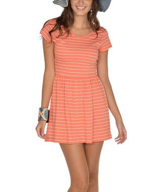 Mango Stripe Scoop Back Cap-Sleeve Dress