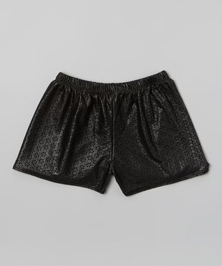 Black Faux Leather Eyelet Shorts