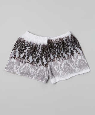 White & Black Ombré Lace Shorts