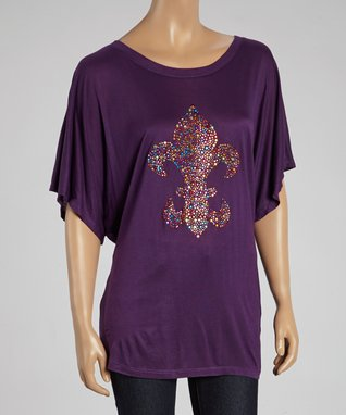 Purple Fleur-de-Lis Graphic Top