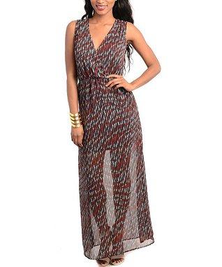 Red & Gray Sheer Maxi Dress