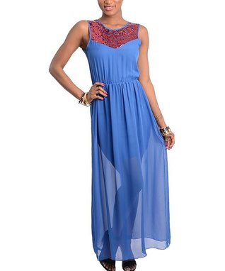 Royal Sequin Sheer Maxi Dress