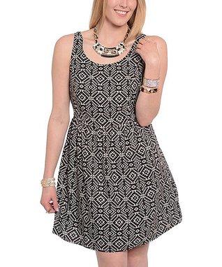 Black & Taupe Tribal Scoop Neck Dress - Plus
