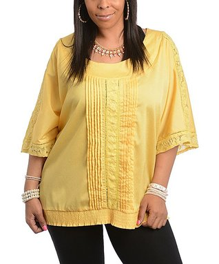 Yellow Lace-Trim Cape-Sleeve Top - Plus