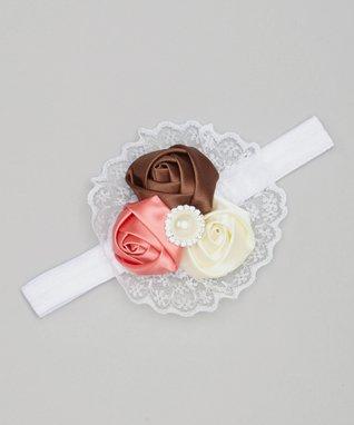 Pink & White Rosette Headband