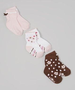 Brown & Light Pink Sweet Girl Socks Set