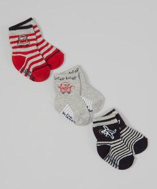 Red & Gray Stripe Transportation Socks Set