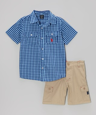 U.S. Polo Assn. Blue Gingham Button-Up & Khaki Shorts - Infant & Toddler