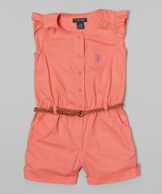U.S. Polo Assn. Calypso Peach Angel-Sleeve Romper - Infant, Toddler & Girls
