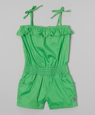 U.S. Polo Assn. Lime Tie-Strap Ruffle Romper - Infant, Toddler & Girls