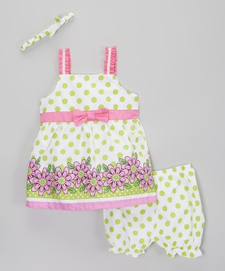 Real Love Green Polka Dot Poplin Dress Set - Infant, Toddler & Girls