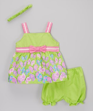 Duck Duck Goose Pink & Purple 'Sweet Hearts' Bodysuit Set - Infant