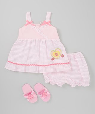 Bloom & Petal Pink Lavender Stripe Dress & Diaper Cover