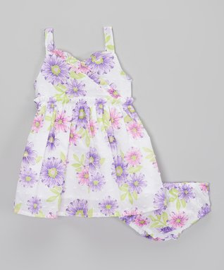 Bloom & Petal Hot Pink & Heather Gray Lap Neck Dress & Diaper Cover - Infant