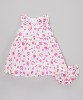 Real Love Pink Gingham Heart Seersucker Dress Set - Infant