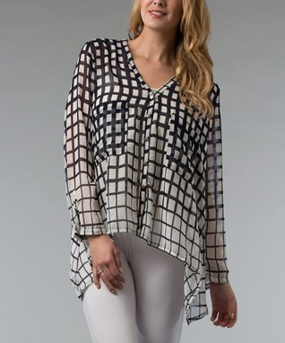 Black & White Square Button-Up - Women