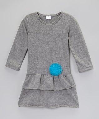Purple & Gray Ruffle Dress - Toddler & Girls