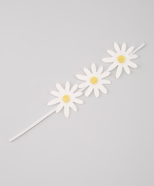White Triple-Daisy Headband