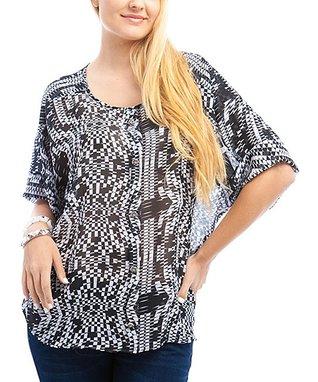 Orange Sheer Lace Sleeveless Button-Up - Plus