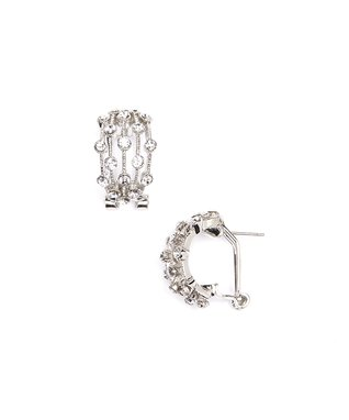 Silver Cubic Zirconia Huggie Earrings