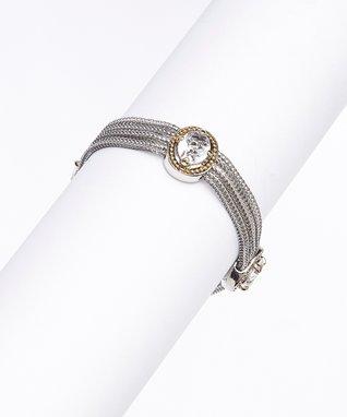 Cubic Zirconia & Silver Trio Bracelet