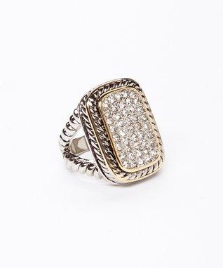 Silver & Gold Pavé Rectangular Ring