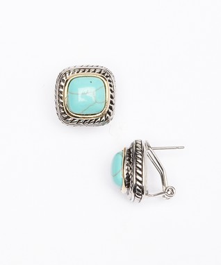 Turquoise, Gold & Silver Square Earrings