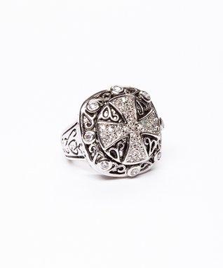 Silver & Crystal Cross Ring