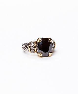 Black & Silver Cubic Zirconia Cushion Ring
