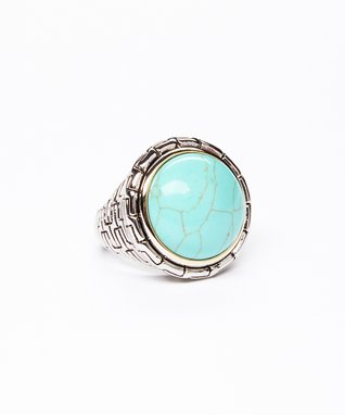 Turquoise & Silver Brick Ring